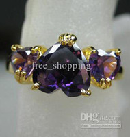 White amethyst ring solid gold - womens ring tanzanite clear amethyst purple gemstone ring solid k yellow gold rings three stones