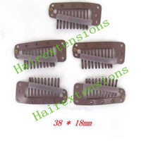Wholesale 3 I Shape Teeth Hair Clips for Clip in on Hair Hair Extensions Tools brown