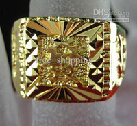 Wholesale gorgeous jewelry womens and mens ring no gemstone luxury fine KT yellow Gold Ring rings