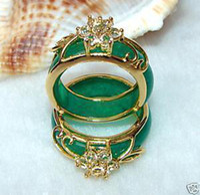 Wholesale 4PCS Hand Carvings Green Jade Ring