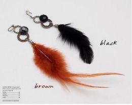 Hot Sale Vintage interlocking Feather Pendant Earrings Cute Fashion Women's black brown 20pair lot