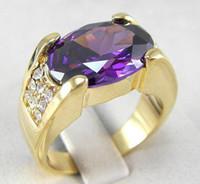 10k gold ring - NICE K REAL YELLOW GOLD FILLED MEN AMETHYST RING