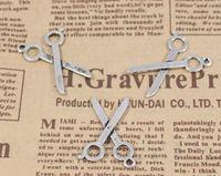 Professions, Hobbies antique tailor scissors - 200pcs X Dollhouse miniature Scissors jewelry bracelet metal alloy charm antique silver tailor