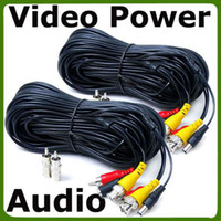 Wholesale 2 x feet CCTV Security Camera Audio Video Power Cables with Free RNC RCA Adapter e_Shop2008