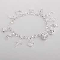 Wholesale best gifts hot sale Sterling Silver fashion jewelry cross moon charms bracelet