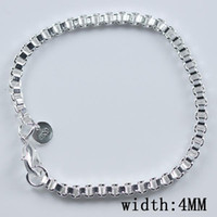 Women's best jewelry box - best gift hot sale Sterling Silver plated fashion jewelry mm box chain bracelet H172
