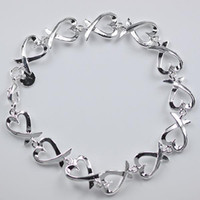 Wholesale top sell hot sale Silver fashion jewelry heart love chain bracelet H177