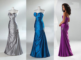 Wholesale 2011 Mermaid Strapless Pleated Graduation Dresses Quinceanera Evening Prom Celebrity Dress Gown