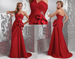Wholesale Sweetheart Red Satin Pleated Graduation Dresses Quinceanera Evening Prom Celebrity Dress Gown