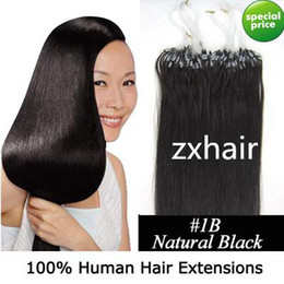 Wholesale 500S quot Micro rings loop hair remy Human Hair Extensions B natural black mix g s