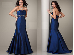 Wholesale Mermaid Navy Blue Sequin Long Graduation Dresses Quinceanera Evening Prom Celebrity Dress Gown