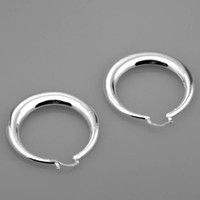 Wholesale Wholesales Simple cool flwoing surface ring silver hoop earrings