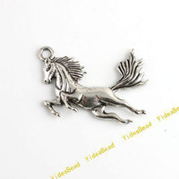 Charms   50 NEW Arrivel HORSE Charms Pendants BEADS CARVED alloy Pandent Bead Findings fit Bracelets 140413