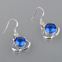 Wholesale Wholesales Lovely ocean blue topaz with silver wire bezel set hook earrings QSE095