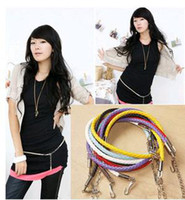 Wholesale Pieces Mixed Fashion Women s Slender PU Waist Belt Chains Skinny Belt
