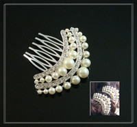 Wholesale Bridal hairpin red white rhinestone hair ornaments decorations wedding headdress side comb