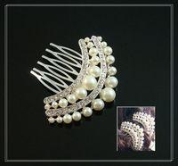 Rhinestone/Crystal bridal hair ornament - Bridal hairpin red white rhinestone hair ornaments decorations wedding headdress side comb
