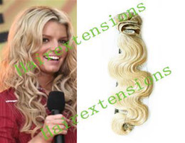 Wholesale 20 quot Remy Body Wavy Human Hair Clip in Hair Extensions Lightest Blonde g set set