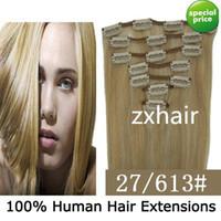clip in hair extension sets - 1 set quot quot set remy Clip in hair Human Hair Extensions