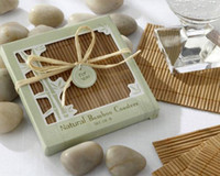 bamboo glass coasters - sets Wedding Favors Beach Wedding Favors Good Luck Bamboo Coasters Bamboo glass coaster party favors