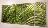 Wholesale METAL oil painting abstract metal wall art sculpture green yellow
