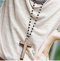 al por mayor collar de perlas largo de la vendimia-VINTAGE Colgante Collar de Madera Fresca