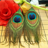 Wholesale Peacock feather clip on or pierced earrings
