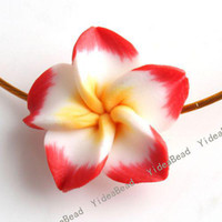 Wholesale 40 RED Fimo Charms Beads Polymer Clay Spacer Beads Handcraft Flower Fit Bracelets mm