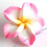 Wholesale 40 Pink Fimo Charms Beads Polymer Clay Spacer Beads Handcraft Flower Fit Bracelets mm