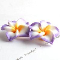 Purple flower polymer clay beads - 100 PURPLE Fimo Charms Beads Polymer Clay Spacer Beads Handcraft Flower Fit Bracelets mm