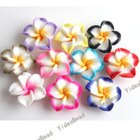 flower polymer clay beads - 80 MIXED Fimo Charms Beads Polymer Clay Spacer Beads Handcraft Flower Fit Bracelets mm