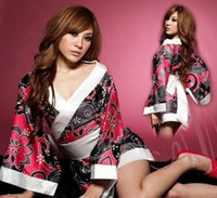 Wholesale black flower Sexy Japan kimono women Uniform temptation female role play Lingerie with belt game Apparel