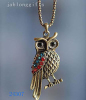 Wholesale Antique Metal Chain Copper Alloy Owl Necklace Pendant Ladies Vintage Jewelry Necklaces