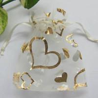 achat en gros de sac cadeau couleur or-Blanc Couleur Or Sac cadeau Organza Coeur faveur de mariage Sacs 7X9 cm (2.7x3.5inch) Hot