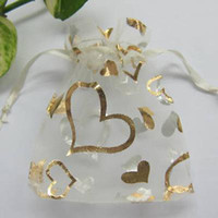 Wholesale White Color Gold Heart Organza Gift Bag Wedding Favor Bags X9 cm x3 inch Hot