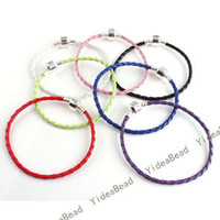 Wholesale 14pcs MIXED Hand knit Hide Rope Charms Bracelets Stopper Clasp Leather Brace lace mm