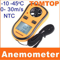 h4327   2 in 1 Digital Pocket Handy Anemometer Wind Speed Meter+Thermometer LCD Display Yellow H4327 1pcs