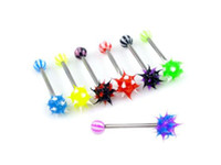 Wholesale g Fashion Silicone Koosh Ball Barbell Tongue Ring with UV Bead Bars Piercing Asstd Colors
