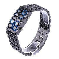 led lava watch - Unique Digital Lava Style Minimalist Blue LED Faceless Iron Samurai Sport Watch H1842B