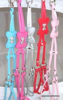 Wholesale leather pet dog collar Harness dog leash belt with Rhinestone bone charm of