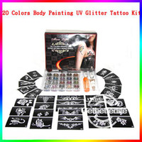 Wholesale EMS Freeshipping sets Pro Colors Glitter Tattoo Kit Makeup Oil Brushes Gel Stencil Supply Temporary Tattoo Kits Body Art PH K001
