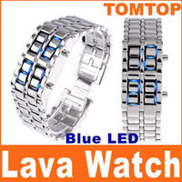 Wholesale 5pcs Digital Lava Style Blue LED Sports watch iron samurai inspired Faceless Watches For Women H4398BL