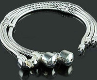 Lien pour perles Avis-110pcs 925 marqués chaînes d'argent p Bracelets Liens 3MM Serpent Fit de bijoux de la chaîne Murano Perles en Europe