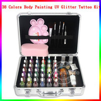 Wholesale glitter tattoo kit Pro Body Art Deluxe tattoo Kit color Powder Stencil Glue Set PH K006