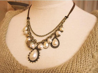 Wholesale Vintage Baroque Royal Pearl Bead Heart Drop Sweater Chain Leather Necklace