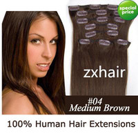 20inch 8pcs set 100g Clip in on extensions real human hair m...