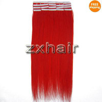 Wholesale 5sets quot tape skin hair extensions red g set