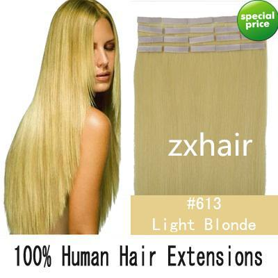 16 24 remy tape skin hair extensions 613 lightest blonde