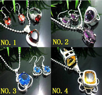 Wholesale Artistic Garnet quartz amp Silver Gorgeous Gemstone Necklace earrings rings gems jewelry set