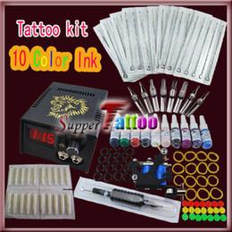 Tattoo Kit 1 Machine Gun Power Supplies 10 Color Ink ST007 Complete Tattoo Kit